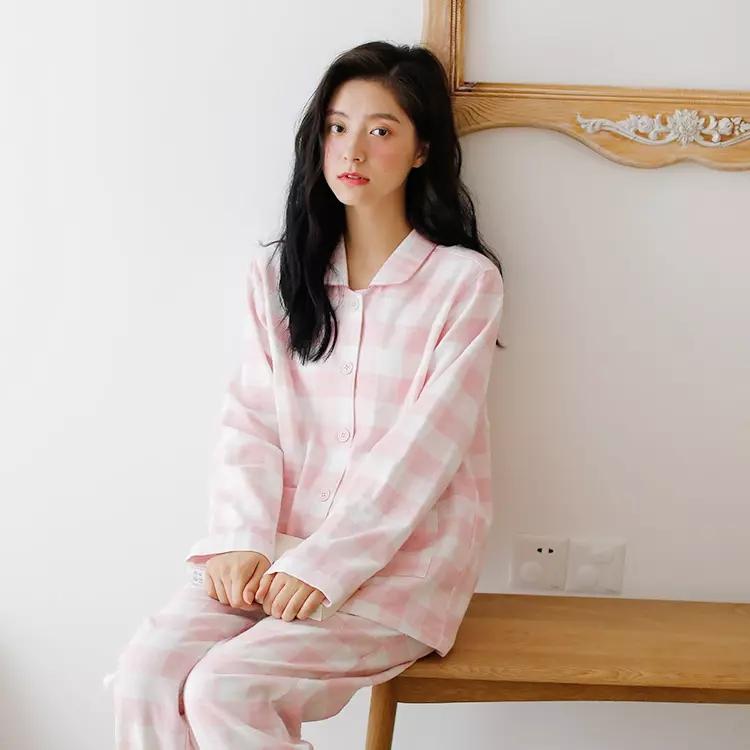 无印良品 轻拉绒双层纱家居服 睡衣女款 粉色中格