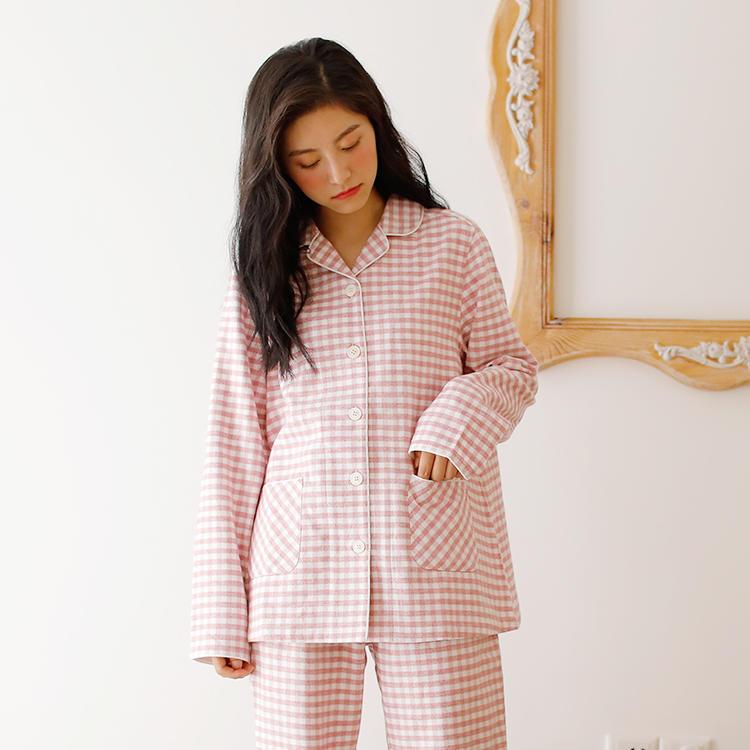 新款无印良品法兰绒家居服套装秋冬款 专柜在售 女款睡衣