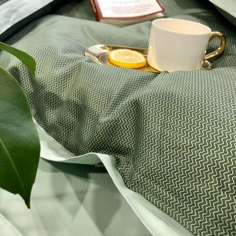 春夏新品60s肌理长绒棉四件套雪雁绿色