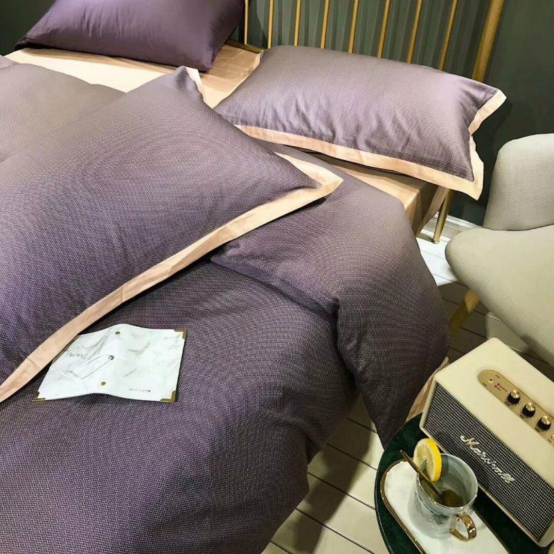 春夏新品60s肌理长绒棉四件套雪雁紫色