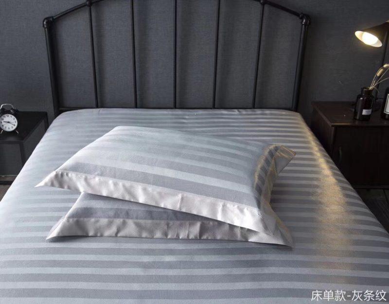 可水洗机洗养生席冰丝席空调席冰柔席三件套床单款灰条纹