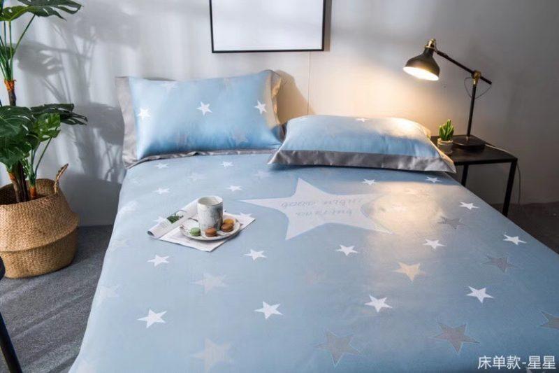 可水洗机洗养生席冰丝席空调席冰柔席三件套床单款星星