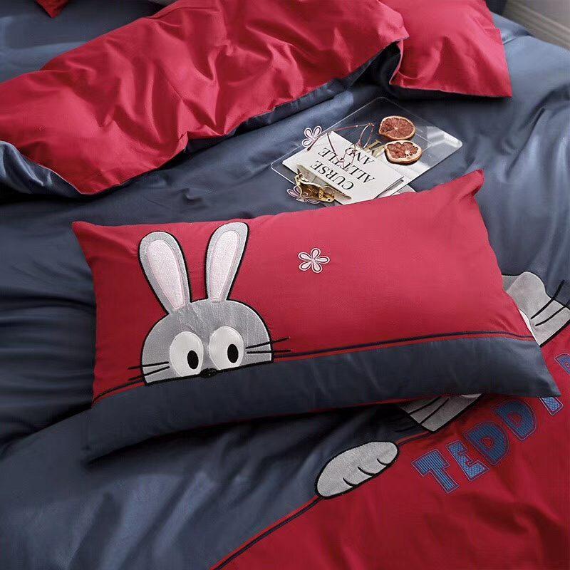 儿童款高品质纯棉面料贡缎绣花三件四件套可爱兔