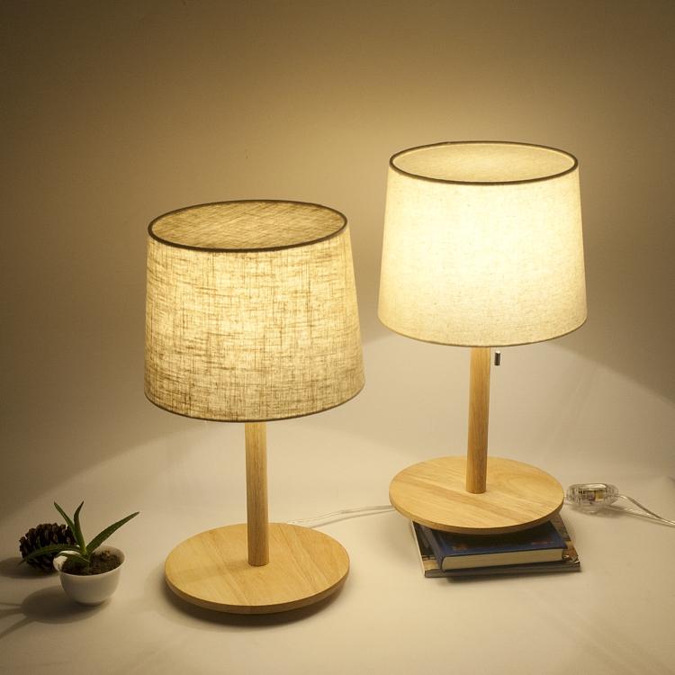 MUJI无印良品简约实木布面灯罩 书房台灯 卧室酒店床头灯