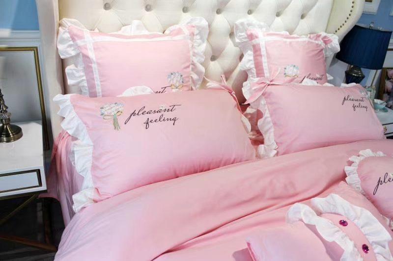 新品60s长绒棉刺绣四件套 公主风床品套件 小雏菊三色入